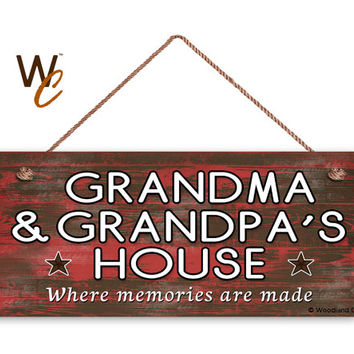 "GRANDMA & GRANDPA'S House Sign, Where Memories Are Made, Distressed Red Wood Style, Gift For Grandparents, 6"" x 14"" Sign, Made To Order"