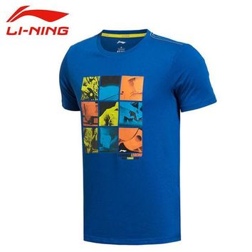 ICIKHN1 LI-NING Summer Men T-Shirt Outdoor Hiking 64% Cotton 36% Polyester Dry Fast Breathable Fit Sport T-Shirt  LINING AHSK087 MTS1000