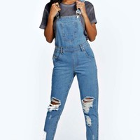 Amy Indigo Stone Wash Denim Dungaree | Boohoo