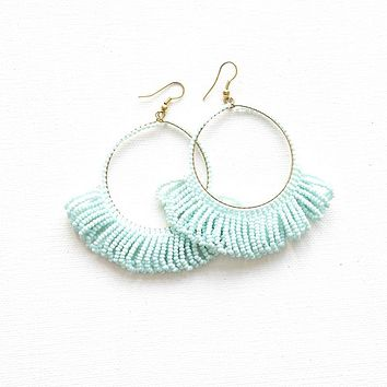 Light Blue Fringe Hoop Seed Bead Earring
