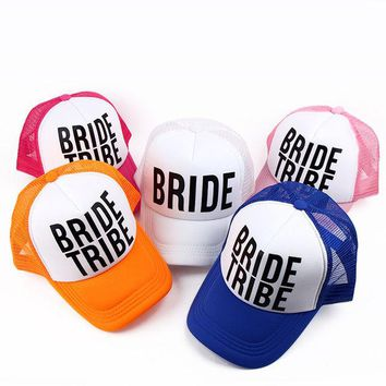 DKF4S Bride/Bride Tribe Bachelorette Hats Women Wedding Preparewear Trucker Caps White Neon Summer Mesh Free Shipping