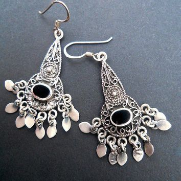 Onyx Sterling Silver Dangle Earrings, Filigree Silverwork, Pierced Vintage