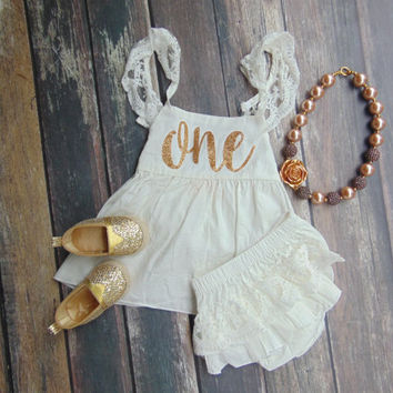 First Birthday White & Lace Sleeveless Romper and Bloomer Set - Baby, Infant, Toddler Dress -  Lace Ruffle Bloomer - Gold Glitter One