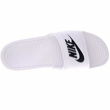 "Nike Benassi Just Do It Beach Slipper Sandals ""White&Black"" 343881-102"