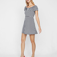 Shirred Scoop Neck Gingham Mini Dress