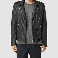 ALLSAINTS US: Mens Brivio Leather Biker Jacket (Black)
