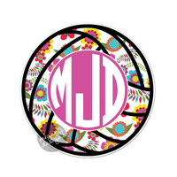 Custom Monogram Floral Volleyball Decal - Colorful Cute Car Decal Personalized Initial Laptop Bumper Sticker Teal Turquoise Pink Green