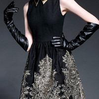 Black Layered Collar Sleeveless Casual Dress with Golden Embroidery Details