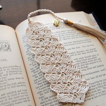 Crochet lace bookmark with a long tassel, owl charm