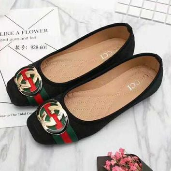 Gucci Big logo Green Red Stripe Print Flat Shoes Canvas Women Sandals Shoes G-LLBPFSH