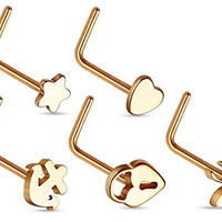 (Pack of 5) 20G Nose Ring L shape, lock, butterfly,star, heart, anchor, IP Rose Gold
