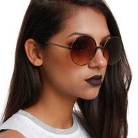 Brown Ocean Lens Round Sunglasses