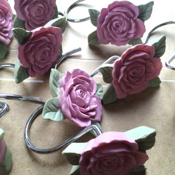 Vintage Pink Rose Shower Curtain Hooks Jewelry Holder Hooks Shabby Chic Cottage Rustic Decor Folk Victorian Shower Curtain Rings Country