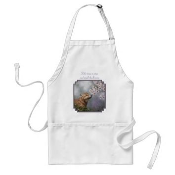 Wolf Pup and Flowers Adult Apron