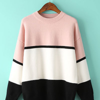 Multi-Color Striped Knitted Sweater