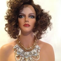 """TIFFANY BOB Curly Custom Swiss Lace Front Wig 10"""" Extra Full SHOWGIRL Collection"""