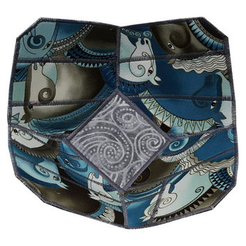 Reversible Fabric Bowl in Laurel Burch Horse Prints