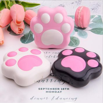 Cartoon Cute Plastic Dog Cat Paw Contact Lens Case Mini with mirror Contact Lenses case Lovely Travel box Eyewear Accessories