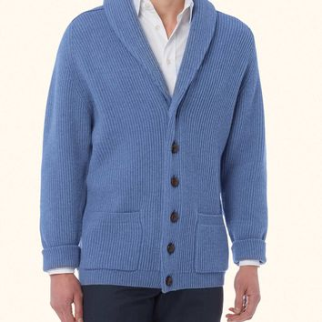 The Kensington Cashmere Cardigan in Chambray Blue - N.PEAL Luxury Cashmere