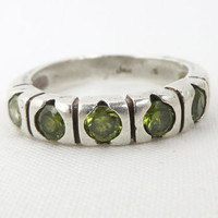 Vintage Sterling Silver Peridot Ring Size 7, Christmas Gift For Her