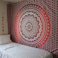 The Rhiannon Red Burgundy Ombre Mandala Boho Bohemian Bedspread Wall Tapestry
