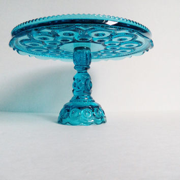 Vintage Cake Stand Aqua Blue Cake Plate Pedestal CupcakeStand L.E. Smith Glass Moon Stars Entertaining Wedding Serving