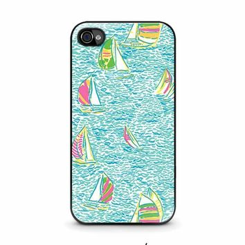 lilly pulitzer sailboat iphone 4 4s case cover  number 1
