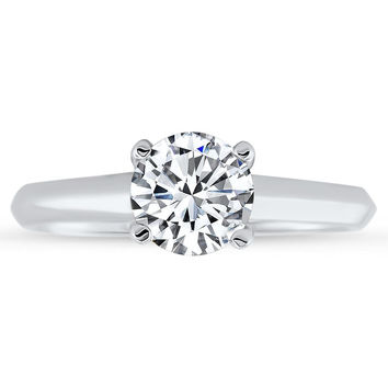 Criss Cross Solitaire Engagement Ring Forever One Solitaire - Sly