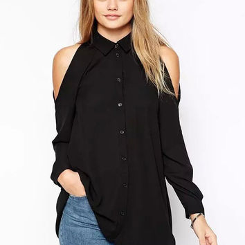 Black Off-Shoulder Long Sleeve Front Button Shirt