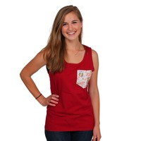 Chi Omega Tank Top in Barn Red with Pattern Pocket by the Frat Collection - FINAL SALE
