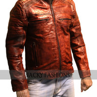 Motorcycle Vintage Cafe Racer Brown Distressed Leather Jacket
