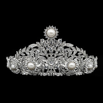 Clear Pearl Tiaras,Wedding Crown, Europe Imperial Style Tiara Bridal Hair Jewelry,Women Hair Accessories Party Hair Decorations SHA8707