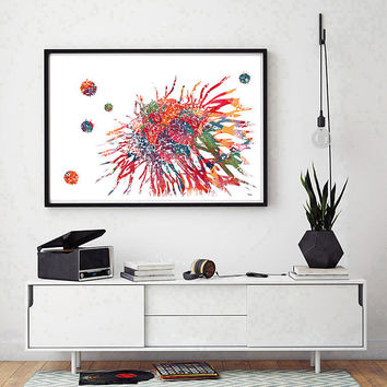 Cancer Cell watercolor print medical art histology poster anatomy art T-cells attacking cancer cell abstract science art wall decor [17]