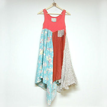 M/L Hippie Boho Dress, Funky Artsy Dress, Sleeveless Long Top, Eco Upcycled Clothing, Anthropologie Free People Inspired