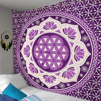 Purple Passion Lotus Love Boho Wall Tapestry