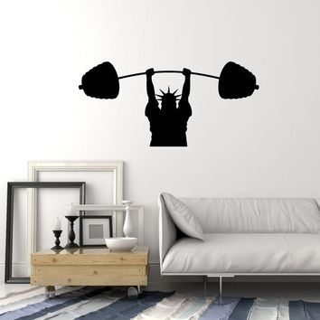 Vinyl Wall Decal Sports Statue of Liberty Fitness Gym Barbell Art Stickers Mural (ig5671)
