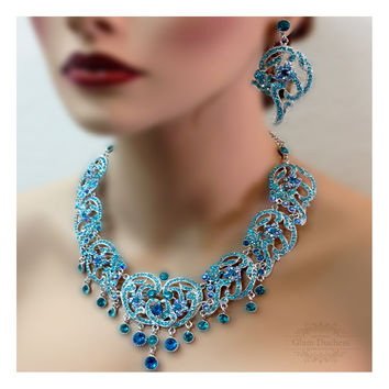 Bridal jewelry, Bridal bib necklace earrings , vintage inspired rhinestone bridal necklace statement, Teal blue crystal wedding jewelry set