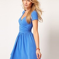 ASOS Skater Dress With Ballet Wrap at asos.com