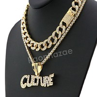 Hip Hop Iced Out Quavo CULTURE Miami Cuban Choker Tennis Chain Necklace L20