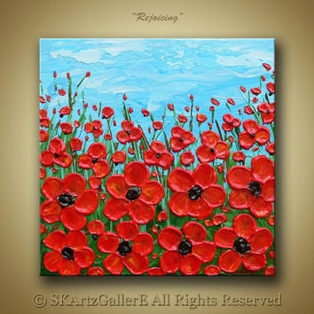 Flowers on field landscape Heavy textured Impasto painting on canvas- Home wall decor Original Artwork -Blue sky, Cadmium orange flowers