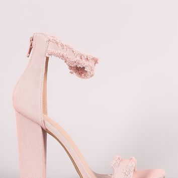 Shoe Republic LA Frayed Denim Ankle Strap Chunky Heel