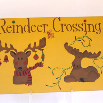 Christmas Reindeer Upcycled Recycled Handpainted Wood Sign cij