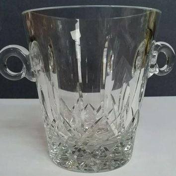Hand cut glass ice bucket 24 % lead crystal