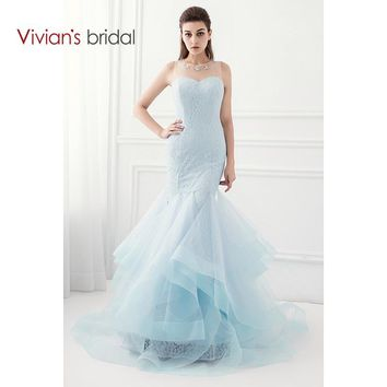 Bridal Tiffany Blue Mermaid Prom Dress Sleeveless Lace Crystal  Evening Dress Party Dress