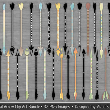 Tribal Arrow Clip Art Bundle, Native American Arrows, Arrow Silhouettes, Digital Navajo Arrows Clipart, Feathered Arrow Scrapbook Clipart