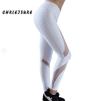 Solid Color Mesh Stitching Folds Striped Print hip High Waist Leggings