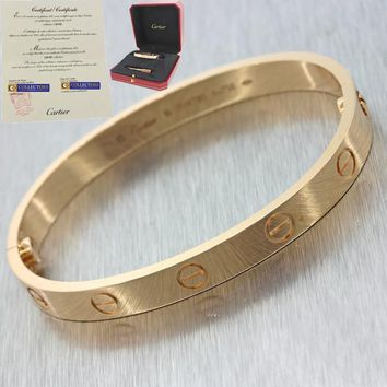 2016 Cartier 18K Rose Gold New Style Screw Love Bangle Bracelet Size 19