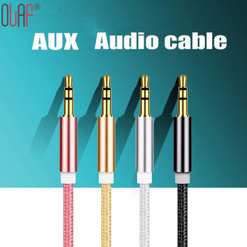 3.5 mm Jack Aux Cable For iPhone Samsung MP3 MP4 Car Audio Cable Wire 5 Colors Copper Nylon Headphone Beats Speaker AUX Cord