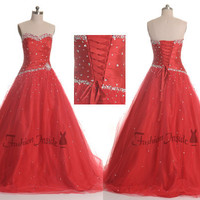 sample sale red prom dress, flame ball gown, lace-up sweet 16 party dress clearance P0007