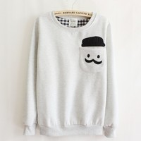 Grey Thickened Cashmere Fashion Doll Head Sweater